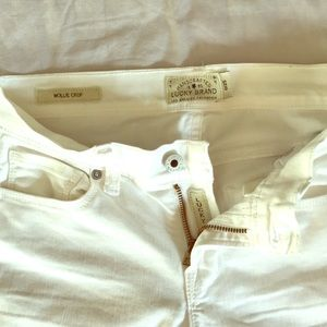 White lucky brand jeans.